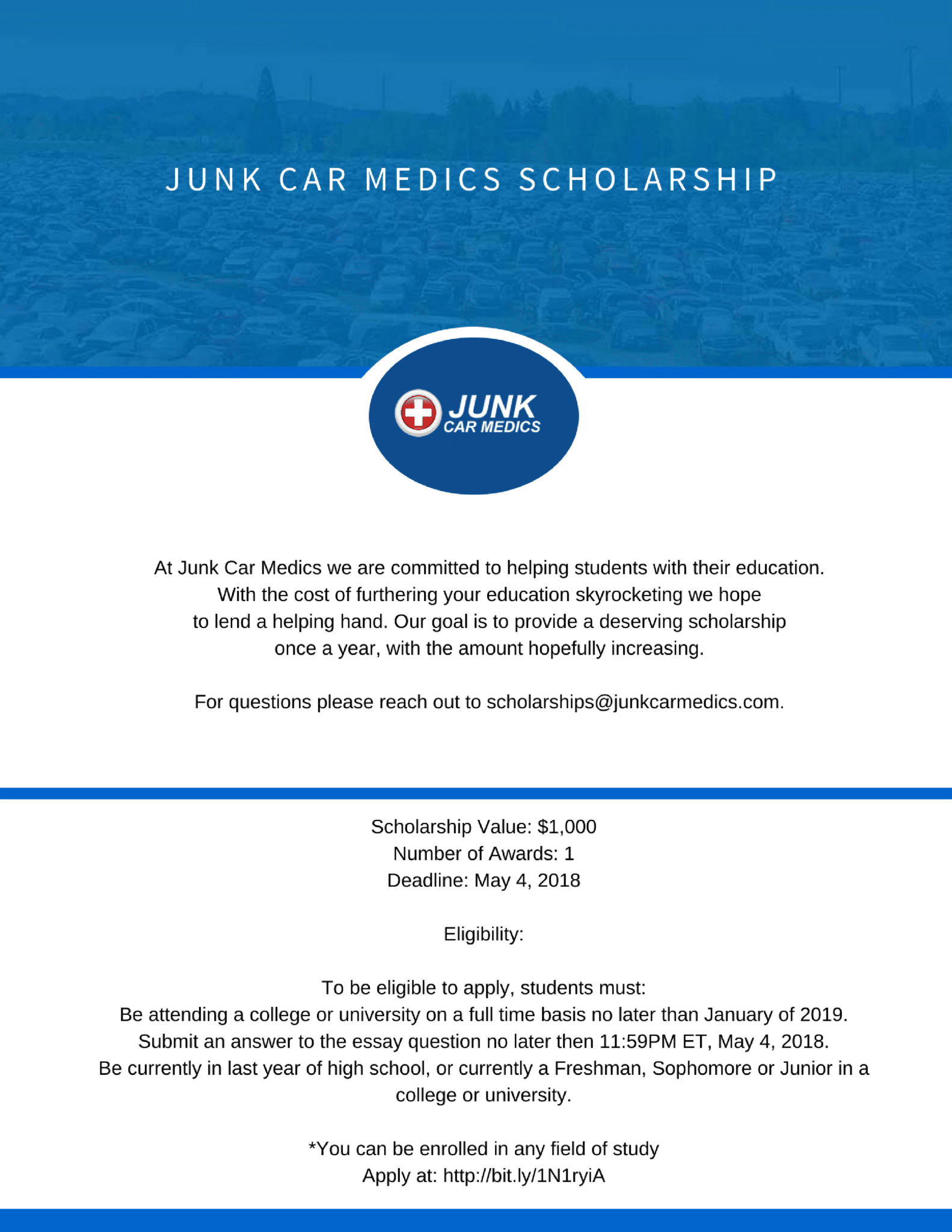 Junk Car Medics Annual Scholarship - 2018