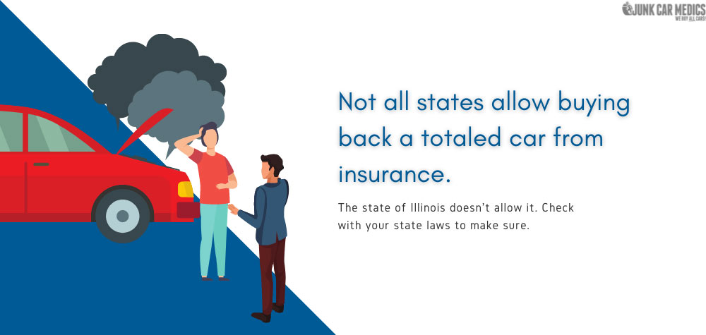 Not all state laws allow buying back of totaled cars.
