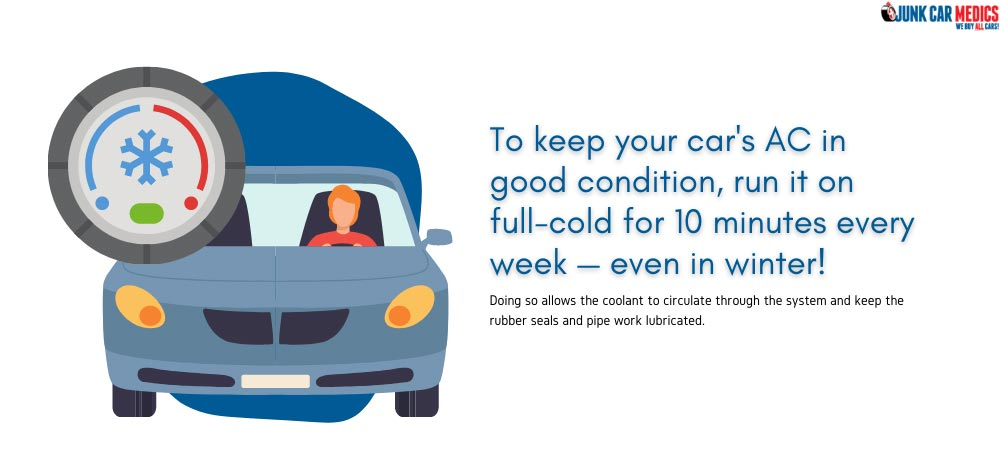 Run your car's AC for 10 minutes every week to keep it in good condition.