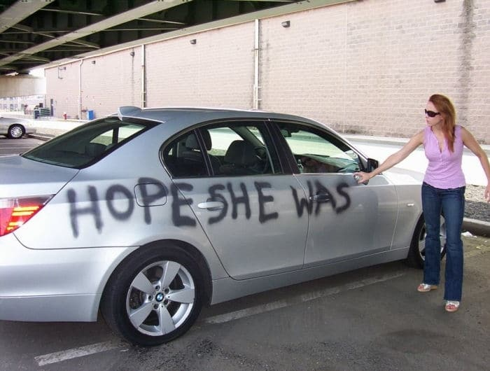 cheating husband car