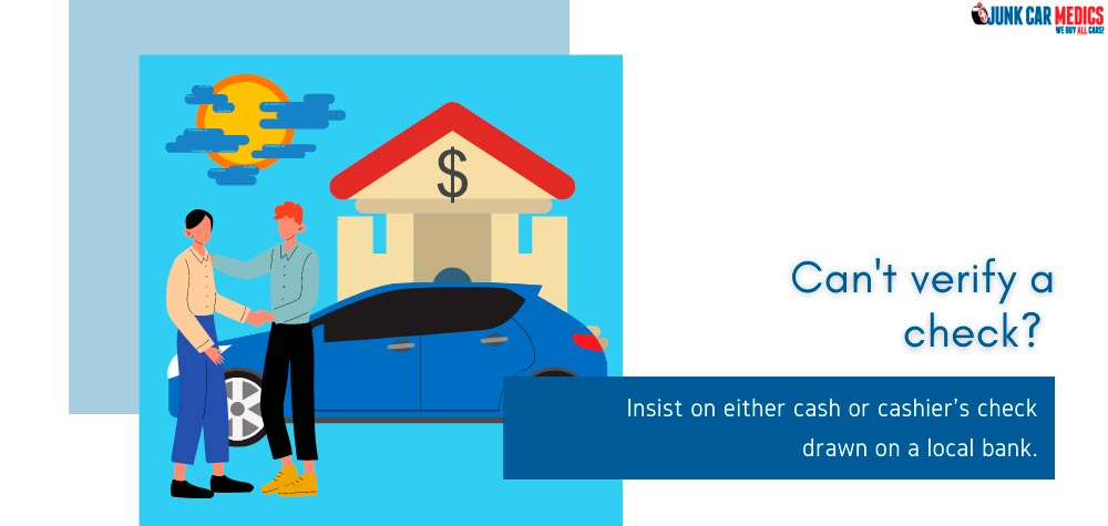 Insist on cash payment if you can't verify a buyer's check.