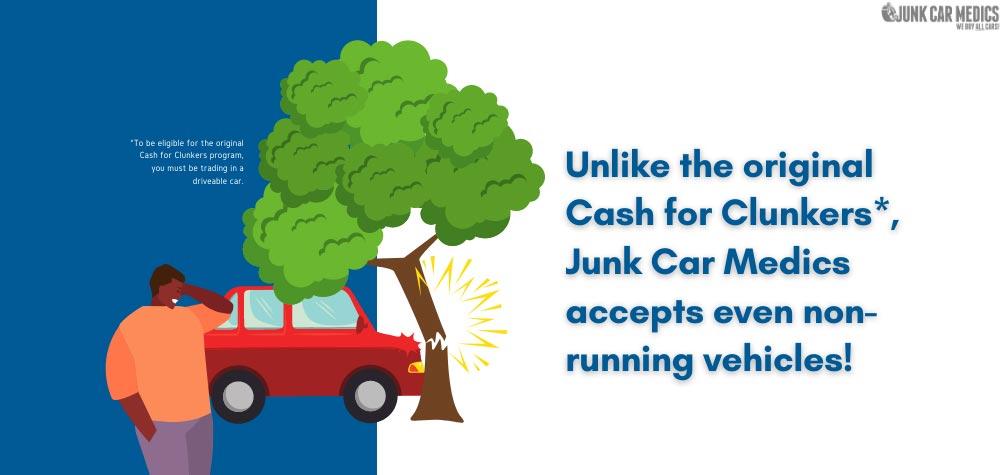 Unlike the original Cash for Clunkers, Junk Car Medics accepts non-running cars.