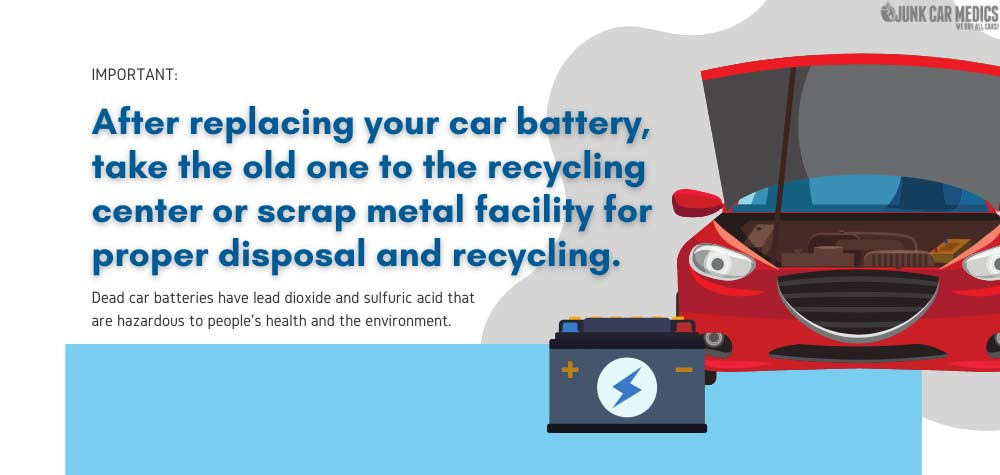 Old car batteries should be properly disposed and recycled.