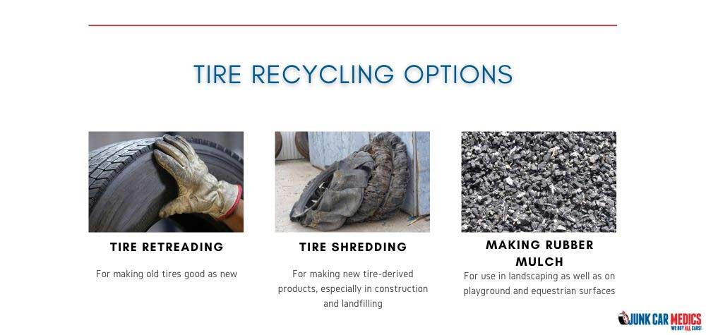 You can recycle tires in different ways.
